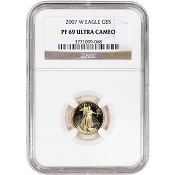2007-W American Gold Eagle Proof (1/10 oz) $5 - NGC PF69UCAM