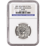 2007-W American Platinum Eagle Reverse Proof (1/2 oz) $50 - NGC PF70 - 10th Ann