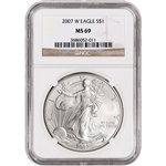 2007-W American Silver Eagle - Uncirculated Collectors Burnished Coin - NGC MS69