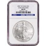 2007-W American Silver Eagle - Uncirculated Burnished - NGC MS69 Early Releases