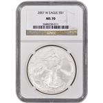 2007-W American Silver Eagle - Uncirculated Collectors Burnished Coin - NGC MS70