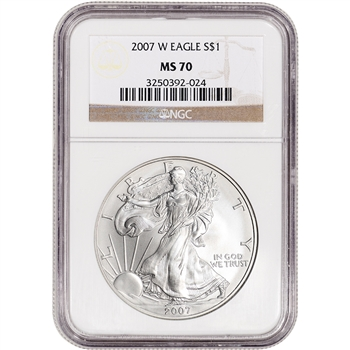 2007-W American Silver Eagle - Burnished - NGC MS70