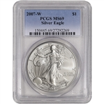 2007-W American Silver Eagle Uncirculated Collectors Burnished Coin - PCGS MS69