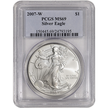 2007-W American Silver Eagle Burnished - PCGS MS69