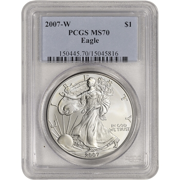 2007-W American Silver Eagle Burnished - PCGS MS70