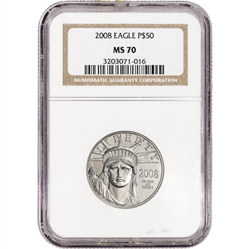 2008 American Platinum Eagle 1/2 oz $50 - NGC MS70