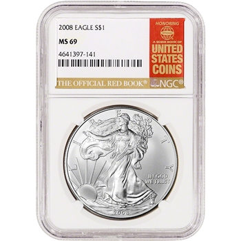 2008 American Silver Eagle - NGC MS69 - Red Book Label