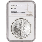 2008 American Silver Eagle - NGC MS70