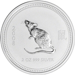 2008 Australia Silver Lunar Series I Year of the Mouse 2 oz $2 - BU