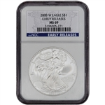 2008-W American Silver Eagle - Uncirculated Burnished - NGC MS69 Early Releases