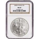 2008-W American Silver Eagle Burnished - NGC MS69