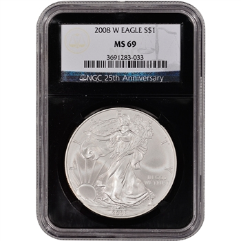 2008-W American Silver Eagle Uncirculated Burnished  NGC MS69 'Retro' Black Core