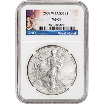 2008-W American Silver Eagle Uncirculated Burnished - NGC MS69 West Point Medals
