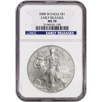 2008-W American Silver Eagle Burnished - NGC MS70 - Early Releases