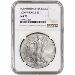 2008-W American Silver Eagle Burnished - NGC MS70