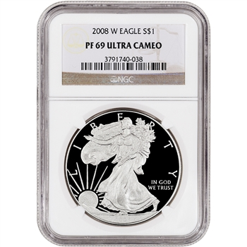 2008-W American Silver Eagle Proof - NGC PF69UCAM