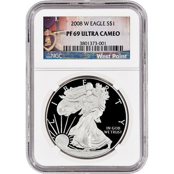 2008-W American Silver Eagle Proof - NGC PF69 UCAM - West Point Label