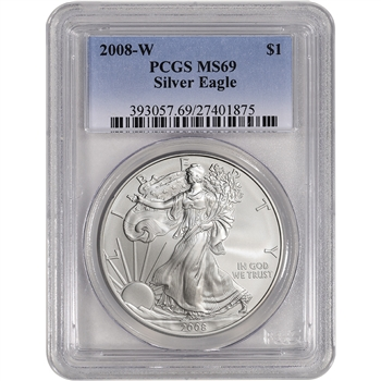 2008-W American Silver Eagle Uncirculated Collectors Burnished Coin - PCGS MS69