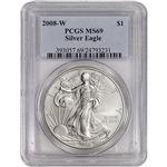 2008-W American Silver Eagle Burnished - PCGS MS69