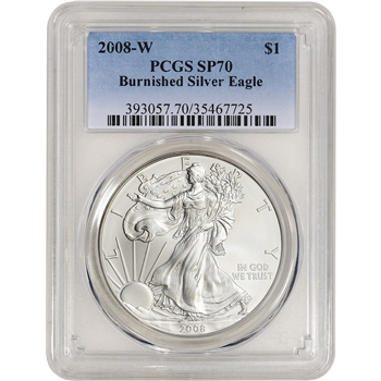 2008-W American Silver Eagle Burnished - PCGS SP70