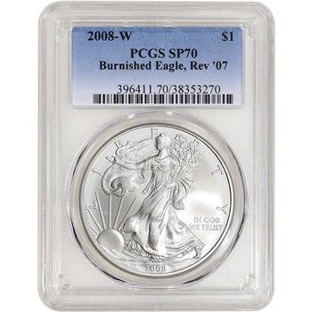 2008-W American Silver Eagle Burnished - Reverse of 2007 - PCGS SP70