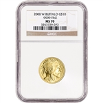 2008-W American Gold Buffalo (1/4 oz) $10 - Burnished - NGC MS70