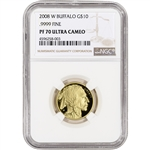 2008-W American Gold Buffalo Proof (1/4 oz) $10 - NGC PF70 UCAM