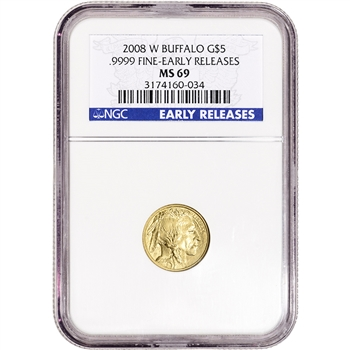 2008-W American Gold Buffalo Burnished 1/10 oz $5 - NGC MS69 Early Releases