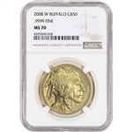 2008-W American Gold Buffalo (1 oz) $50 - Burnished - NGC MS70