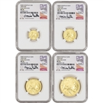 2008-W American Gold Buffalo Burnished 4-pc Set - NGC MS70 Early Releases Castle