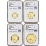 2008-W American Gold Buffalo Burnished 4-pc Year Set - NGC MS70 Early Releases