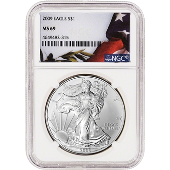 2009 American Silver Eagle - NGC MS69 - Flag Label