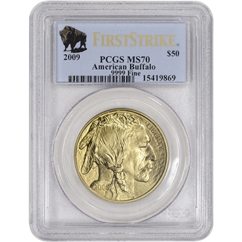 2009 American Gold Buffalo (1 oz) $50 - PCGS MS70 - First Strike Buffalo Label