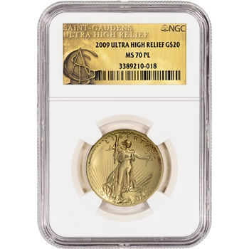 2009 US Gold $20 Ultra High Relief Double Eagle - NGC MS70 PL - UHR Label