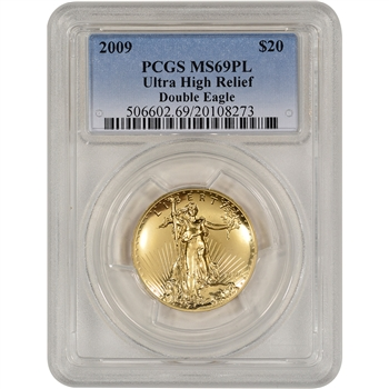 2009 US Gold $20 Ultra High Relief Double Eagle - PCGS MS69 PL - New PCGS Holder