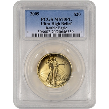 2009 US Gold $20 Ultra High Relief Double Eagle - PCGS MS70 PL