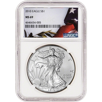 2010 American Silver Eagle - NGC MS69 - Flag Label