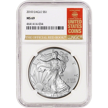 2010 American Silver Eagle - NGC MS69 - Red Book Label