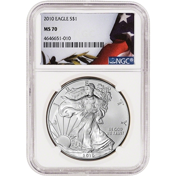 2010 American Silver Eagle - NGC MS70 - Flag Label