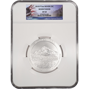 2010-P ATB Mount Hood Silver (5 oz) 25C - NGC SP69 - Flag Label
