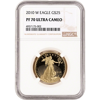 2010-W American Gold Eagle Proof 1/2 oz $25 - NGC PF70 UCAM