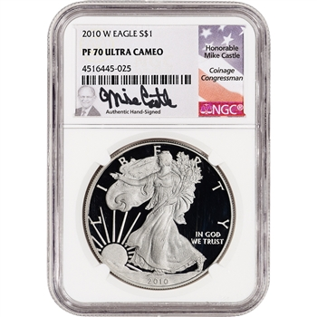 2010-W American Silver Eagle Proof - NGC PF70 UCAM Castle Signed