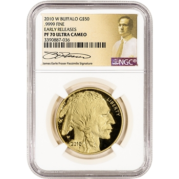 2010-W American Gold Buffalo Proof 1 oz $50 NGC PF70 Early Releases Fraser Label