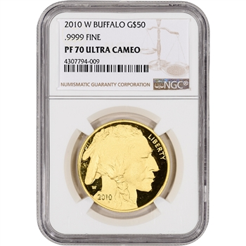 2010-W American Gold Buffalo Proof (1 oz) $50 - NGC PF70 UCAM - Large Label