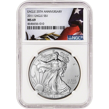 2011 American Silver Eagle - NGC MS69 - Flag Label