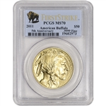 2011 American Gold Buffalo (1 oz) $50 - PCGS MS70 - First Strike Buffalo Label