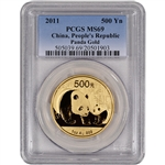 2011 China Gold Panda (1 oz) 500 Yuan - PCGS MS69