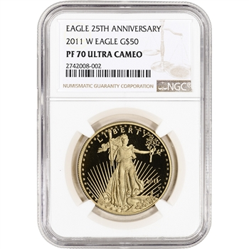 2011-W American Gold Eagle Proof 1 oz $50 - NGC PF70 UCAM