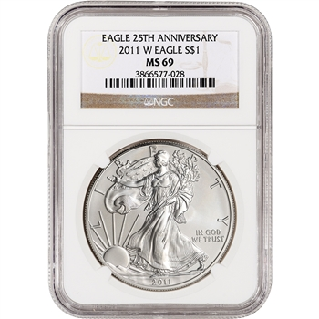 2011-W American Silver Eagle Uncirculated Collectors Burnished - NGC MS69