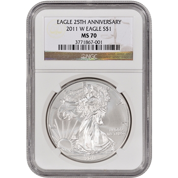 2011-W American Silver Eagle Uncirculated Collectors Burnished - NGC MS70